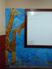 Leider gab es keine Leitern. Sonst hätten unsere Giraffen sogar über die Tafel geschaut.